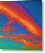 Abstract Red Blue And Green Sky Metal Print