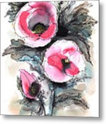 Abstract Red Poppies Metal Print