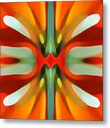 Abstract Red Tree Symmetry Metal Print