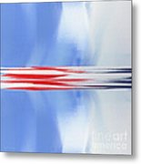 Abstract Red White And Blue Silver Rocket Square Metal Print