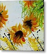 Abstract Sunflowers Metal Print