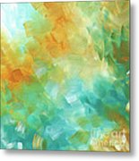 Abstract Textured Decorative Art Original Painting Gold And Teal By Madart Metal Print