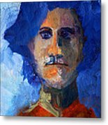 Abstract Thinking Man Portrait Metal Print