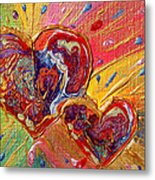 Abstract Valentines Love Hearts Metal Print by Julia Apostolova