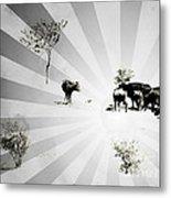 Abstract Vintage Cows Metal Print
