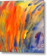 Abstract Watercolor Painting With Fire Flames Metal Print