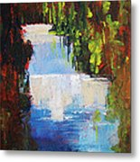Abstract Waterfall Painting Metal Print