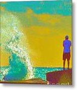 Abstract Wave Crash Metal Print