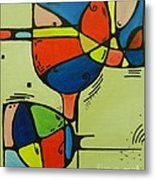 Abstract Wine Glass  Metal Print