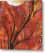 Abstract Wood Pattern Painting Original Landscape Art Moon Tree By Megan Duncanson Metal Print