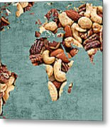 Abstract World Map - Mixed Nuts - Snack - Nut Hut Metal Print