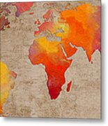 Abstract World Map - Rainbow Passion - Digital Painting Metal Print