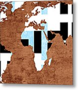 Abstract World Map - Which Way Is Up - Painterly Metal Print