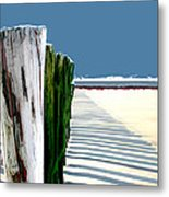 Abstracted Beach Dune Fence Metal Print