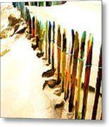 Abstracted March Of The Colored Dune Fence Metal Print