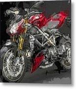 Abstracted Red Italian Street Racer Motorcycle Metal Print