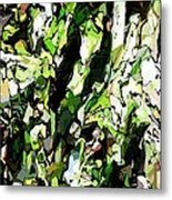 Abstraction Green And White Metal Print