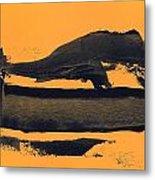 Abstracto Black Yellow Metal Print