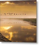 Geese Over The River Metal Print