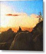Acadia Bass Harbor Head Lighthouse Silhouette Metal Print