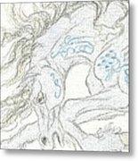 Aceo Blue Unicorn Metal Print