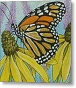 Aceo Monarch On Wild Grey Headed Coneflower Metal Print