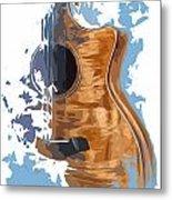 Acoustic Guitar Blue Background 4 Metal Print