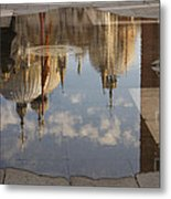 Acqua Alta Or High Water Reflects St Mark's Cathedral In Venice Metal Print
