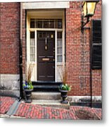 Acorn Street Door And Lamp Metal Print