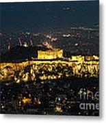 Acropolis At Night Metal Print