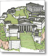 Acropolis Of Athens Restored Metal Print