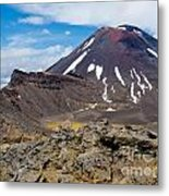 Active Volcanoe Cone Of Mt Ngauruhoe New Zealand Metal Print