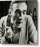 Actor Clifton Webb Applying Make-up Metal Print