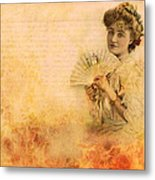 Actress In The Pink Vintage Collage Metal Print