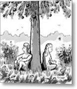 Adam And Eve Sit Back To Back Against A Tree Metal Print