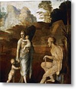 Adam And Eve With Cain And Abel Metal Print