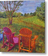 Adirondack Chairs In Leiper's Fork Metal Print
