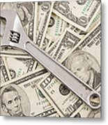 Adjustable Wrench On Pile Of Money Metal Print