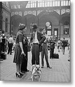 Admiring The Dog At Penn Station 1942 Metal Print