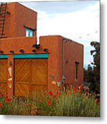 Adobe House And Poppies Metal Print