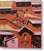 Adobe Village - Peru Impression II Metal Print