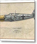 Adolf Galland Messerschmitt Bf-109 - Map Background Metal Print