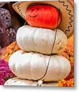 Adorable Cowboy Pumpkin Figures Made From Pumpkins Metal Print