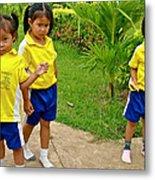 Adorable Sweethearts Welcoming Committee At Baan Konn Soong School In Sukhothai-thailand Metal Print