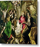 Adoration Of The Shepherds Metal Print by El Greco Domenico Theotocopuli