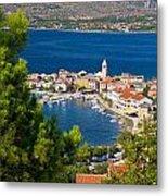 Adriatic Town Of Vinjerac Aerial View Metal Print