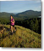 Adult Woman Trail Running Metal Print