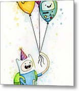 Adventure Time Finn With Birthday Balloons Jake Princess Bubblegum Bmo Metal Print