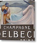 Advertisement For Champagne Delbeck Metal Print by Louis Chalon