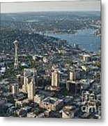 Aerial Image Of The Seattle Skyline  Metal Print